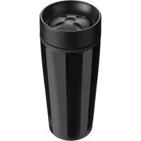 Stainless steel 450ml travel mug a plastic interior.