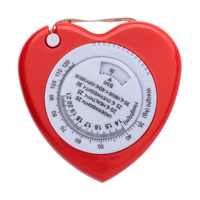Plastic, 1.5m, heart shaped BMI tape measure, includes a weight (KG) and height (Mts.) indicator on the front. To be used for promotional purposes.