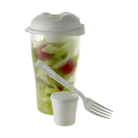 Salad container with cup and fork.