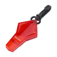 Reflecting plastic whistle on a belt clip.