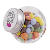 Small glass jar with chocos