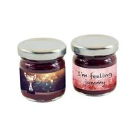 Mini jar of strawberry jam