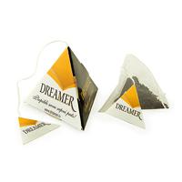 Pyramid tea bag with printed tag