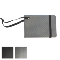 Carbon Fibre Effect Notebook Style Luggage Tag with Elastic Retainer.
