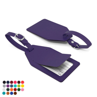 Belluno PU Angled Luggage Tag with Security Flap & printed address card