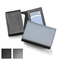 Carbon Fibre Textured Deluxe Business Card Dispenser with Framed Window Pocket
