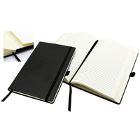A5 Casebound Notebook with a Black Elastic Strap and Pen Loop