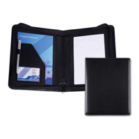 Black Belluno PU A5 Zipped Conference Folder