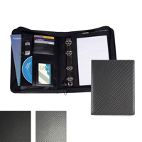 Carbon Fibre Effect PU A5 Deluxe Zipped Ring Binder