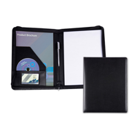 Black Belluno PU Zipped A4 Conference Folder