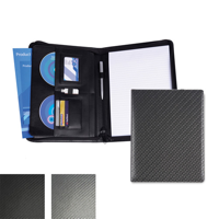 Carbon Fibre Effect PU A4 Deluxe Zipped Conference Folder