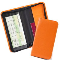 Zipped Travel Wallet with one clear pocket and one material pocket with card slots.in a choice of Belluno Colours