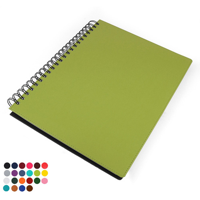 Belluno PU Colours A4 Wiro Notebook with soft touch leather look cover, black board to rear, lined ivory paper.