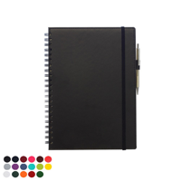Belluno PU Colours Deluxe A4 Wiro Notebook with soft touch leather look cover to both sides, Elastic Strap to close, Elastic Pen Loop, Clear interior pocket, lined ivory paper.