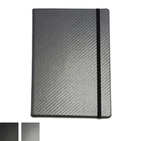 Carbon Fibre Textured A5 Casebound Notebook with Elastic Strap and Envelope Pocket