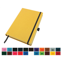 A5 Casebound Notebook with a Elastic Strap and Pen Loop in a Choice of Colours in a choice of Belluno Colours