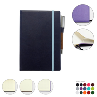 A5 Casebound Notebook with Edge Stitch Emboss, Elastic Strap, Envelope Pocket & Pen Loop in a choice of Belluno Colours