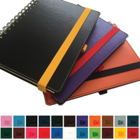 Belluno PU Colours A5 Wiro Notebook with soft touch leather look cover, black board to rear, lined ivory paper.