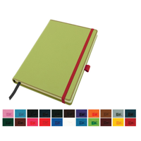 Accent A5 Notebook with a Belluno Soft Touch Cover in a Choice of 22 Colours with a Contrast Colour Elastic Strap, Elastic Pen Loop, Edge Stitch, Edge Stained Paper & Page Marker.