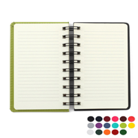 Belluno PU Colours A6 Wiro Notebook with soft touch leather look cover, black board to rear, lined ivory paper.