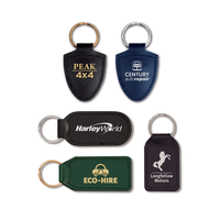 Small Rectangular Shaped Leather Keyfob with Medallion