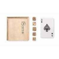 Cards and dices in box