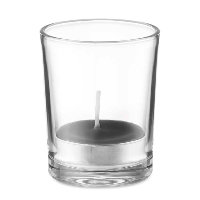 Transparent glass holder candle
