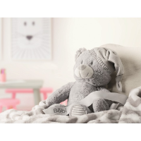 Large teddy bear with blanket