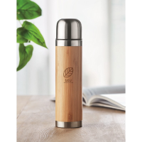 Thermoflask with bamboo cover