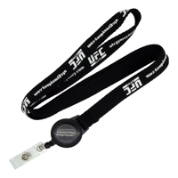 Flat Ribbed Lanyard with Pull Reel