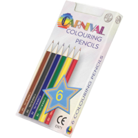 Carnival Colouring Pencils Half Size 6 Pack (Full Colour Print)