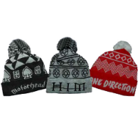 Jacquard Knitted Bobble Hats