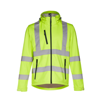 ZAGREB WORK. High-visibility softshell jacket for men, with removable hood