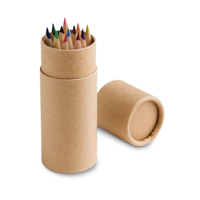 CYLINDER. Pencil box with 12 colouring pencils