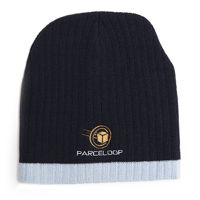 Two Tone Cable Knit Beanie With Embroidery To 1 Position