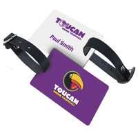 PVC LUGGAGE TAG WITH BLACK LEATHERETTE STRAP