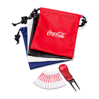 LEATHERETTE EMBROIDERED DRAWSTRING GOLF GIFT BAG 6