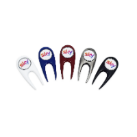 CONTEMPORARY GOLF DIVOT REPAIR TOOL WITH REMOVABLE BALL MARKER