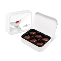 White Sweet Tin - Dark Salted Caramels - Cocoa Bean Truffles