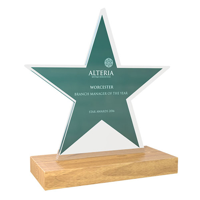 Freestanding Acrylic Award, bespoke shape with real wood base 75x150mm