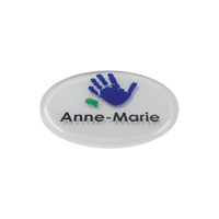 Personalised Acrylic Name Badges, white background, full colour print with clear dome finish