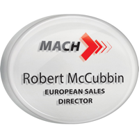 Personalised Acrylic Name Badges, silver background, full colour print with clear dome finish