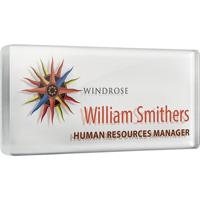 Personalised Acrylic Name Badges, white background, full colour print