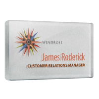 Personalised Acrylic Name Badges, silver background, full colour print