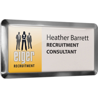 Framed Metal Name Badges, full colour print with clear dome finish