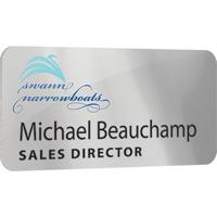Personalised Metal Name Badges, spot colour print