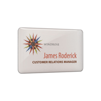 Personalised Metal Name Badges, spot colour print with clear dome finish