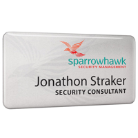 Personalised Metal Name Badges, full colour print with clear dome finish