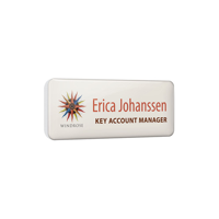 Personalised Plastic Name Badges, spot colour print with clear dome finish