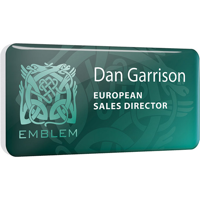 Personalised Plastic Name Badges, full colour print with clear dome finish